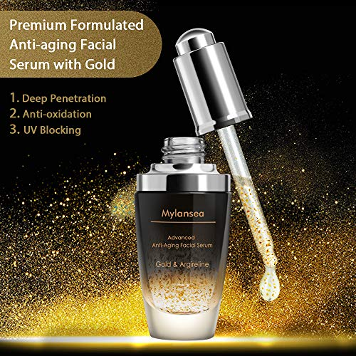 61nLECs8CpL - Face Serum, Argireline Peptide and Gold Anti-Aging Serum for Face and Neck by Mylansea, Key Ingredients Include Hyaluronic Acid and Niacinamide, 30ml