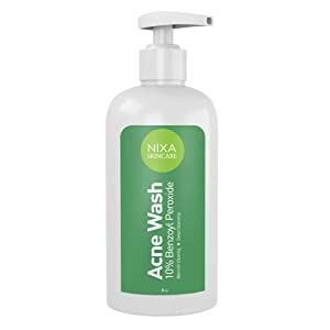 Nixa Skincare 10% Benzoyl Peroxide Wash - Acne Treatment, Face and Body Cleanser for Teens and Adults - Unclog Pores, Reduce Sebum, Works on Contact - Non-Irritating Non-Oily Cleansing Formula - 8oz.