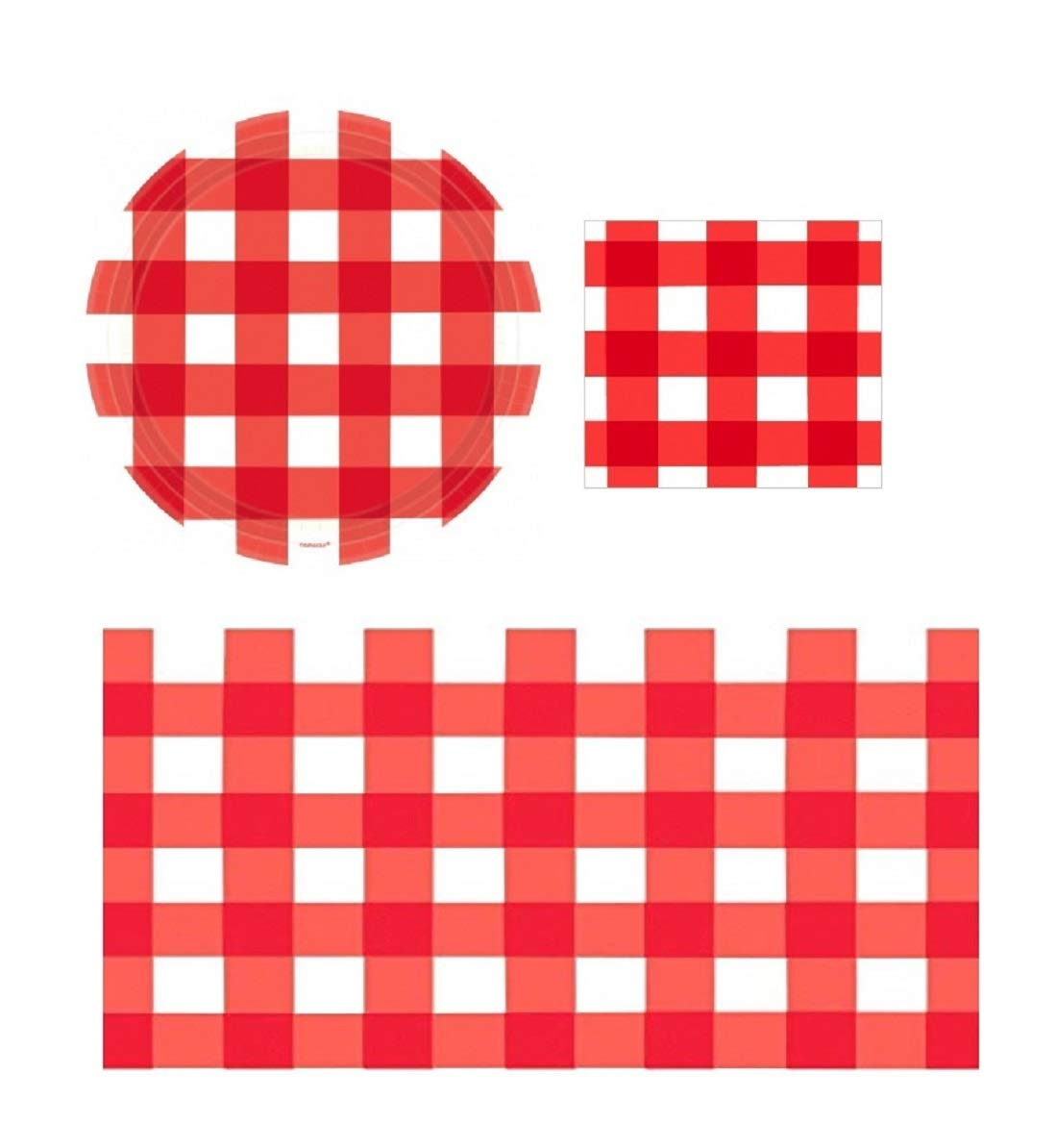 Red Gingham Party Supplies for Picnic Backyard Barbecue and Summer Events American Summer, Serve 16