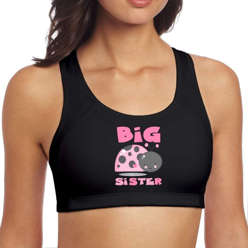SCOTT CARROLL Yoga Vest Bra Womens Pink Ladybug Big Sister Support High Sports Fitness