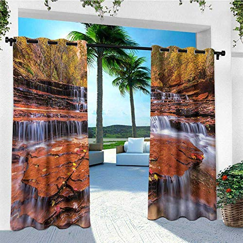 leinuoyi National Parks, Outdoor Curtain Extra Wide, Wide Angle Shot of The Waterfalls Stream West Canyon Falls in The Autumn Season, for Patio W120 x L108 Inch Brown