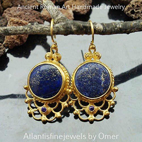 - Peacock Handcrafted Turkish Lapis &Amethyst Earrings 24k Gold Over Sterling Silver By Omer Ancient Art