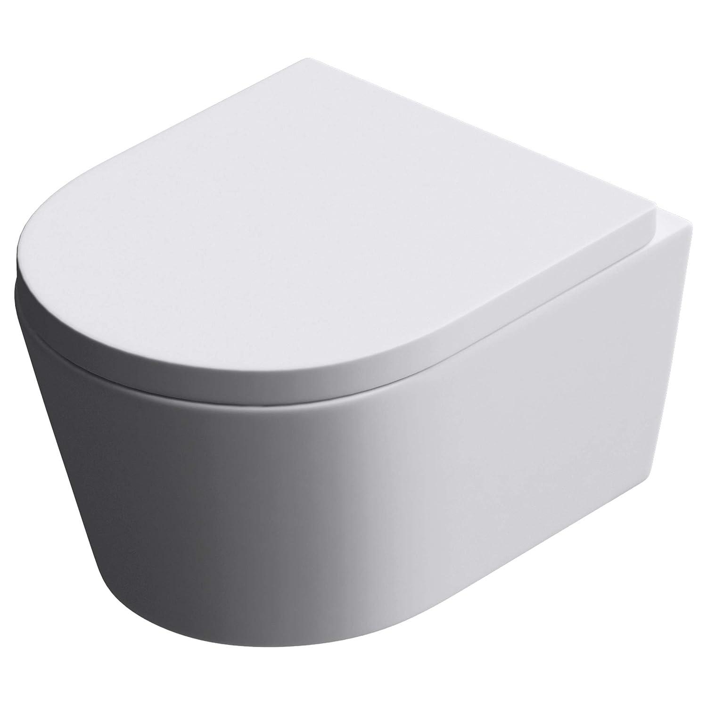 Sogood 35, 5x56x40cm Toilette Aachen502 Keramik Silent-Close-Absenkautomatik Toilettendeckel Wand-WC Hä nge-WC