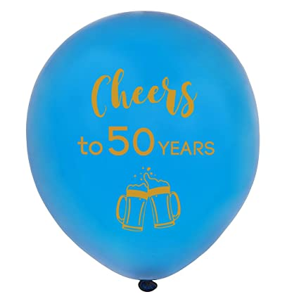 Amazon Blue Cheers To 50 Years Latex Balloons 12inch 16pcs