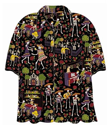 Day of the Dead Mariachi Hawaiian Camp Shirt by David Carey (2X)