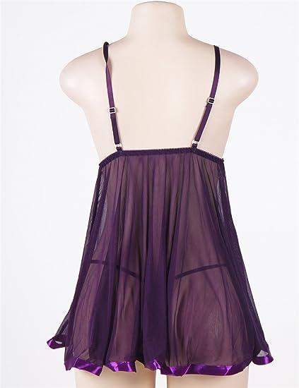 9a4e4b9b50115 SKOKUE Sexy Lingerie Transparent Floral Bra Babydoll Soft Not Scratchy  E20735P (Purple)