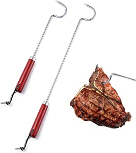 VOOADA Food Pigtail Filpper Meat Spatula Hook, Long (17'') + Short(12'') Stainless Steel Roasting Sticks, Non-Slip Pig Tail Bacon BBQ Forks Beach Cookw