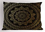 Lunarable Mandala Pillow Sham, Eastern Tribe Themed Circular Flower Ornamental Meditation Symbol, Decorative Standard King Size Printed Pillowcase, 36 X 20 inches, Dark Pine Green and Mustard