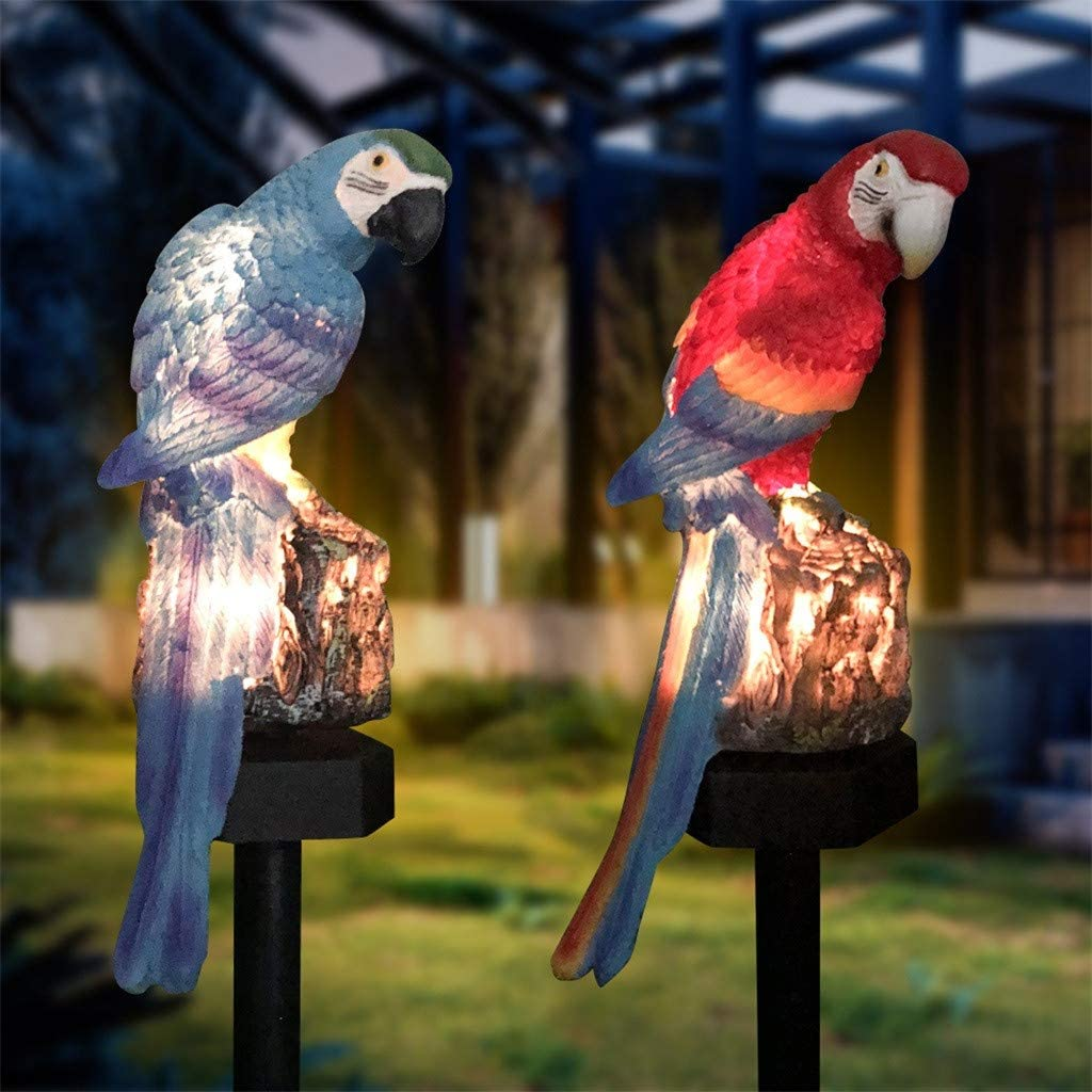 m·kvfa Solar Night Lights,Parrot Inserting Ground Landscape Light Resin Crafts Garden Light for Patio Lawn Yard Deck Driveway and Path (Multicolor)