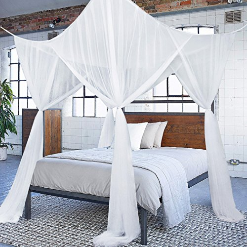 Classical 4 Corners Post Bed Canopy Twin Full Queen King Mosquito Net (White) - 4 Piece Twin Canopy