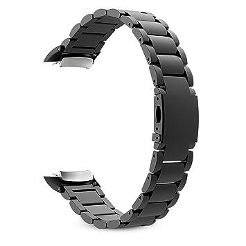 MoKo Samsung Gear Fit 2 y Fit 2 Pro Correa de Reloj, Pulsera Universal Acero Inoxidable Brazalete SmartWatch Banda + Conector para Samsung Gear Fit 2 ...
