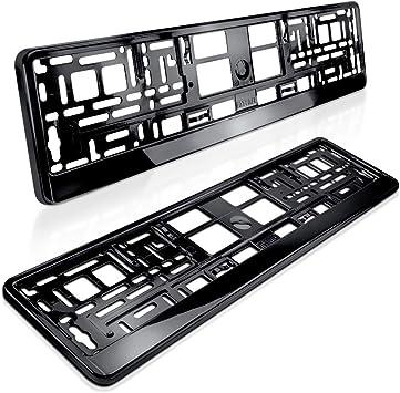 schwarz HOCHGLANZ Klavierlack 520 x 110 mm Kfz Nummernschildhalter 2 x black Brilliant PKW Kennzeichenhalter Kennzeichenhalterung