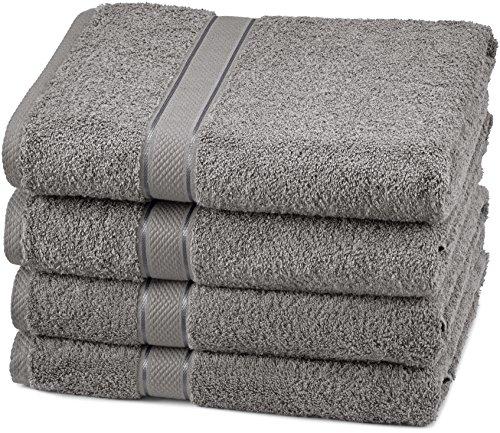 Pinzon 4 Piece Egyptian Cotton Bath Towels Set - Grey (Grey Cotton Bath Towels)