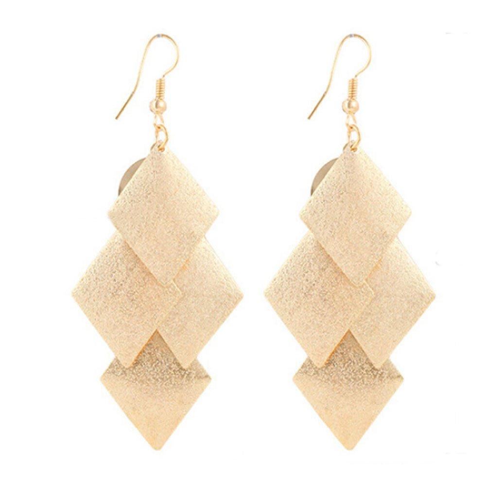 Clearance ! Yang-Yi 2018 Fashion Jewelry Women Alloy Rhombus Leaves Dangle Earings Eardrop Earrings Gift (8cmX3.3cm, Gold)
