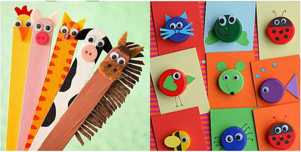 500 Pcs Self Adhesive Wiggle Googly Eyes Stickers 5 Size Round Stick on Wobbly Wiggly Eyes for DIY Animal Creative Crafts Decorations