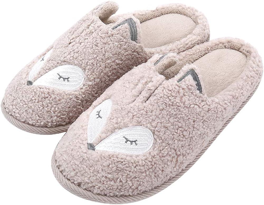 Womens Cute Animal Slippers Soft Fleece Plush Home Slippers Slip On Memory Foam Clog House Slippers