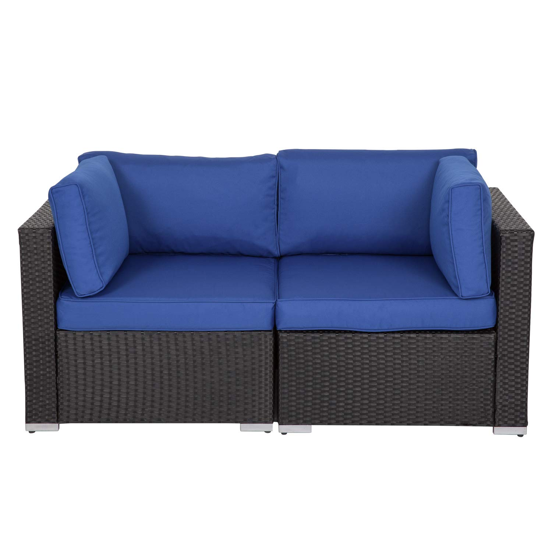 Kinbor Black Wicker Patio Loveseat 2 PCS Outdoor Garden Furniture Set Rattan Corner Sofa with Thick Dark Blue Cushions by Kinbor