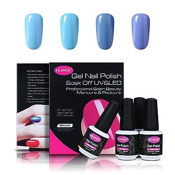 Amazon.com : CLAVUZ Soak Of UV LED Gel Nail Polish 4pcs Blue Colors ...