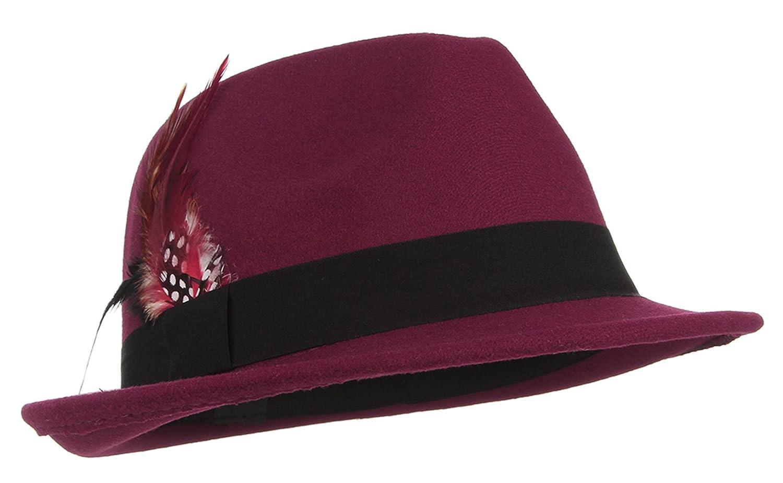 Gemvie Mens Warm Woolen Crushable Feather Gangster Trilby Dent Fedora Hat
