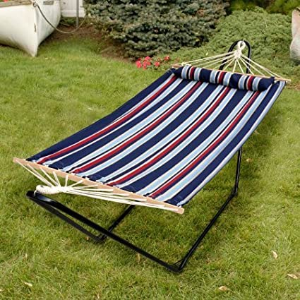 48 Tequila Sunrise Hammock with Pillow, Patriot/Blue/Red/White Stripe