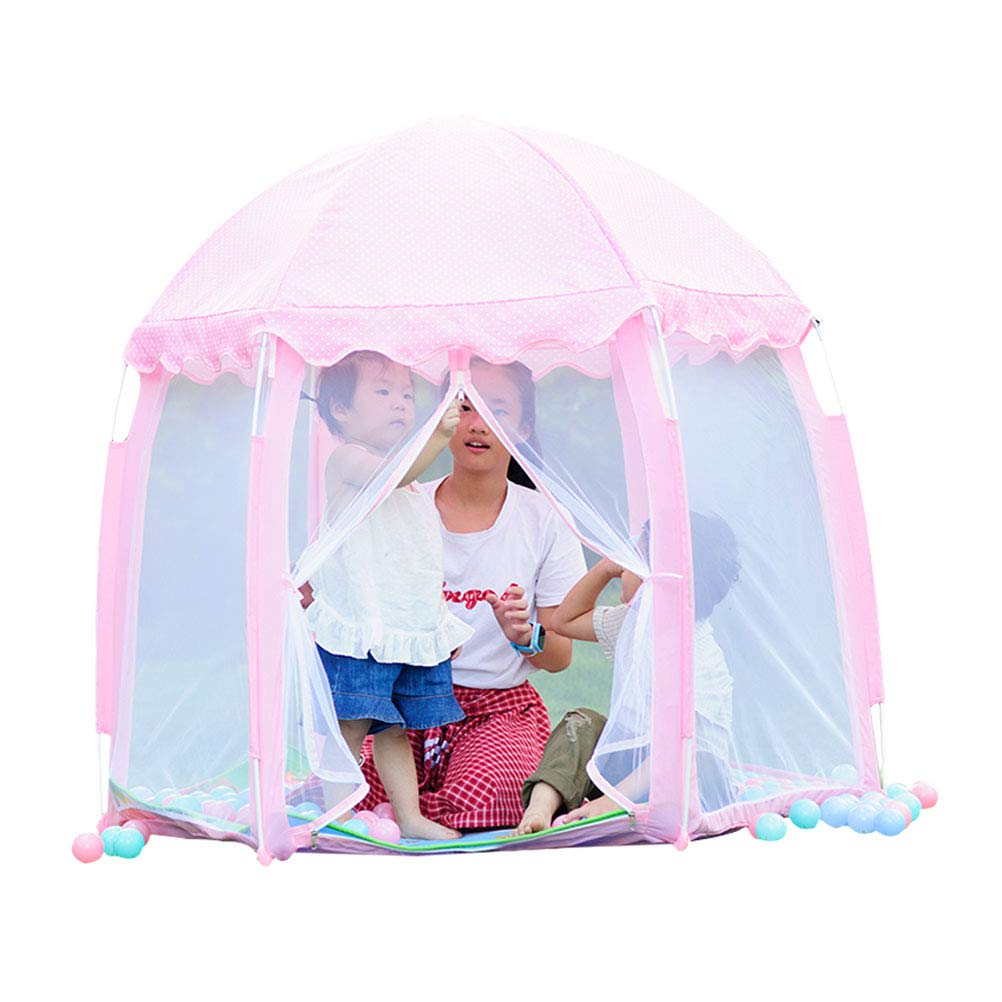 Loghot Kids Play Tent Hexagonal Princess Castle Play Tent Fairy Playhouse Indoor and Outdoor Tent for Girls, Boys, Children (Pink)