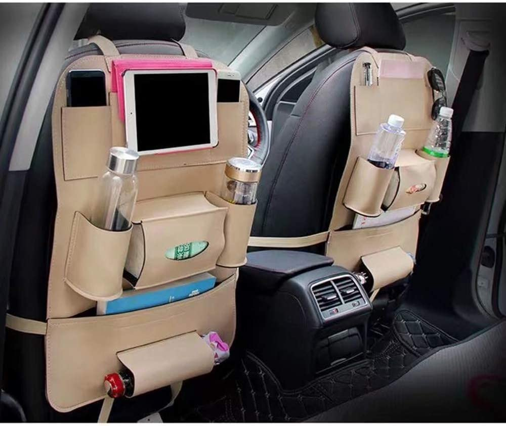 Pu Leather Car Seat Back Organizer And Ipad Mini Holder Tissue Box Storage Bottles 2 Pack Universal Use As Car Backseat Organizer for Kids Toys ,Brown