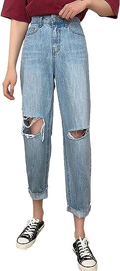 Hattfart Women Plus Size High Waist Knee Skinny Distressed Ripped Freyed Slim Fit Boyfriend Jeans Denim Pants