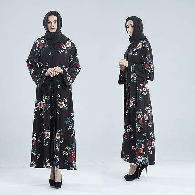 NPRADLA Large Falda Vestido Estilo Dama con Parte Delantera Abierta de Kaftan Abaya musulmán Jilbab Robe Maxi Vestido de Dama Partido Elegante Moda L: ...