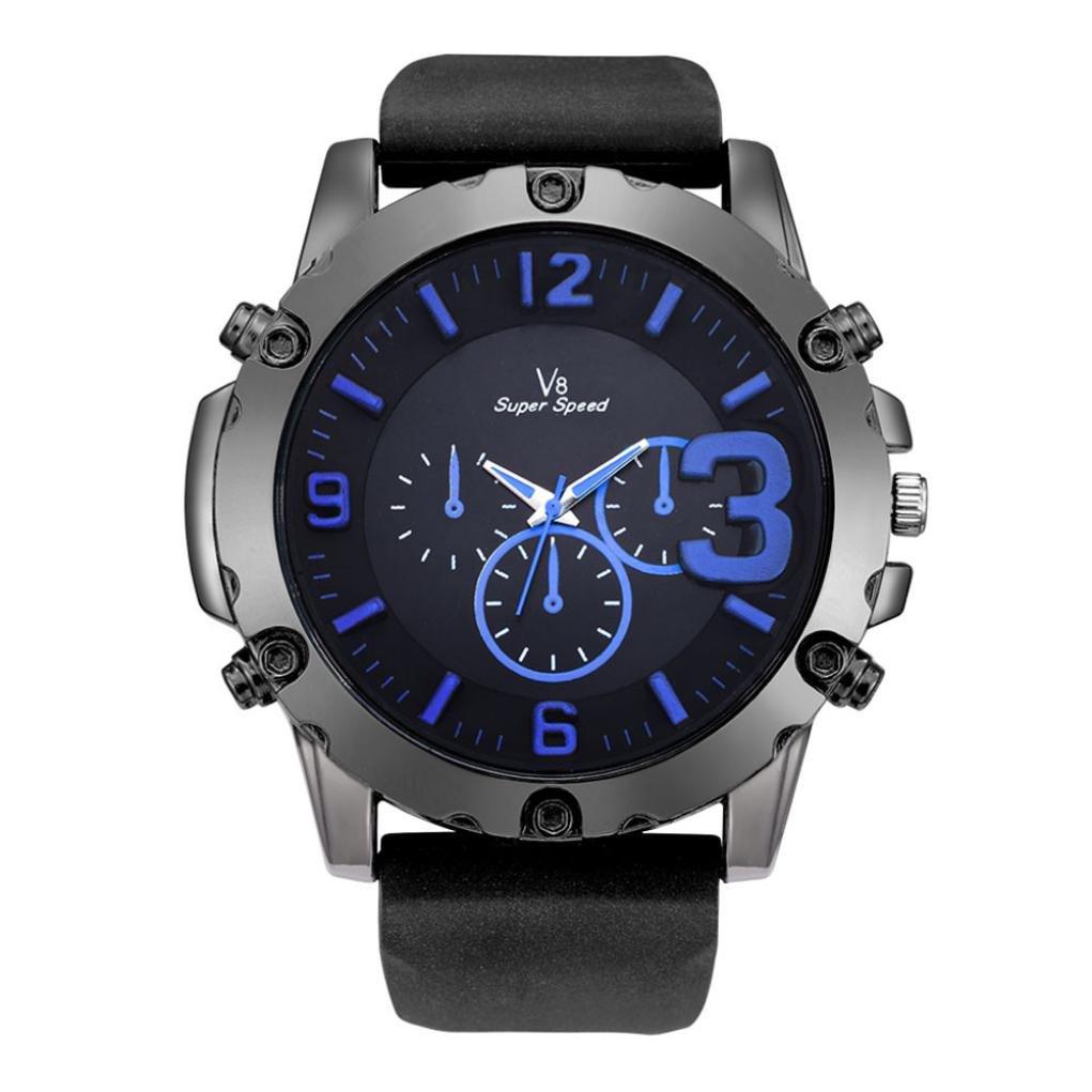 メンズアナログ腕時計, sinmaエレガントなオススポーツウォッチクオーツラウンドシリコン腕時計 ブルー B071RZQXQY ブルー ブルー