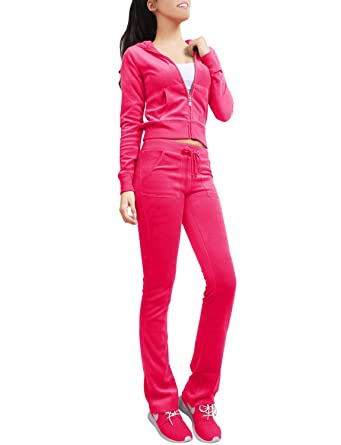dae6f690ccec Ne People Womens Velour   Cotton Hoodie and Sweatpants Tracksuit Set