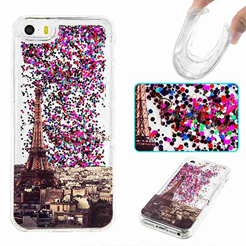 iPhone 5S Case, iPhone SE Case,ARSUE Cool Moving Bling Glitter Sparkle Design Printed Liquid Quicksand Transparent Soft Case for iPhone 5 / 5s / SE (Eiffel Tower) - Eiffel Tower Sparkle