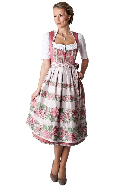 Ludwig und Therese Damen Trachten Dirndl Melanie midi rose 11234 (Rosa)