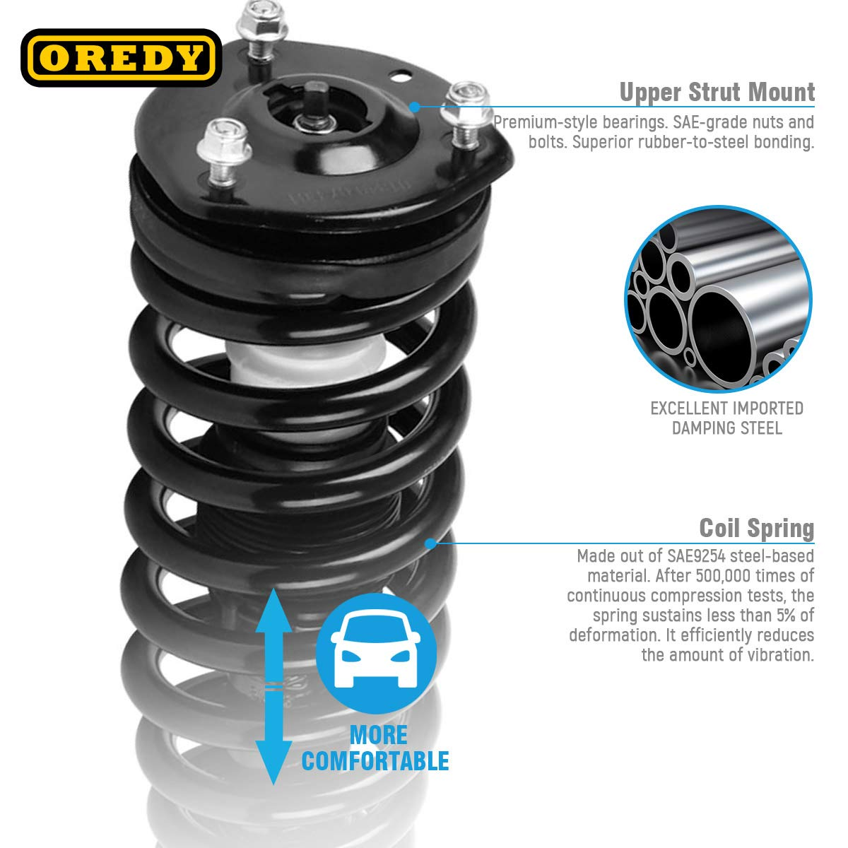 OREDY Front Pair Struts Assembly Complete Assembly Shock Absorber Compatible with Mazda 6 2003 2004 2005 2006 2007 2008#172195 11990 55S11990 1335543L 1335543R 9213-0104 172261 172596 D172263