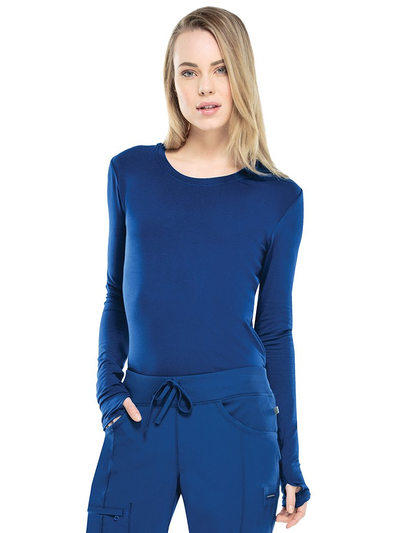 Cherokee Infinity Women's Round Neck Long Sleeve Underscrub Large Galaxy Blue