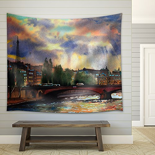 Watercolor Painting of the Paris France Fabric Wall Tapestry
