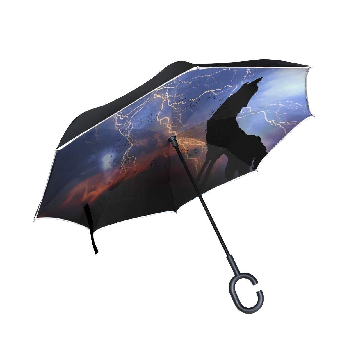senya 反転傘 2層 ハウリング 逆折りたたみ傘 防風 UV保護 C型ハンドル 車 雨 アウトドア 旅行   B07MXTHBN7