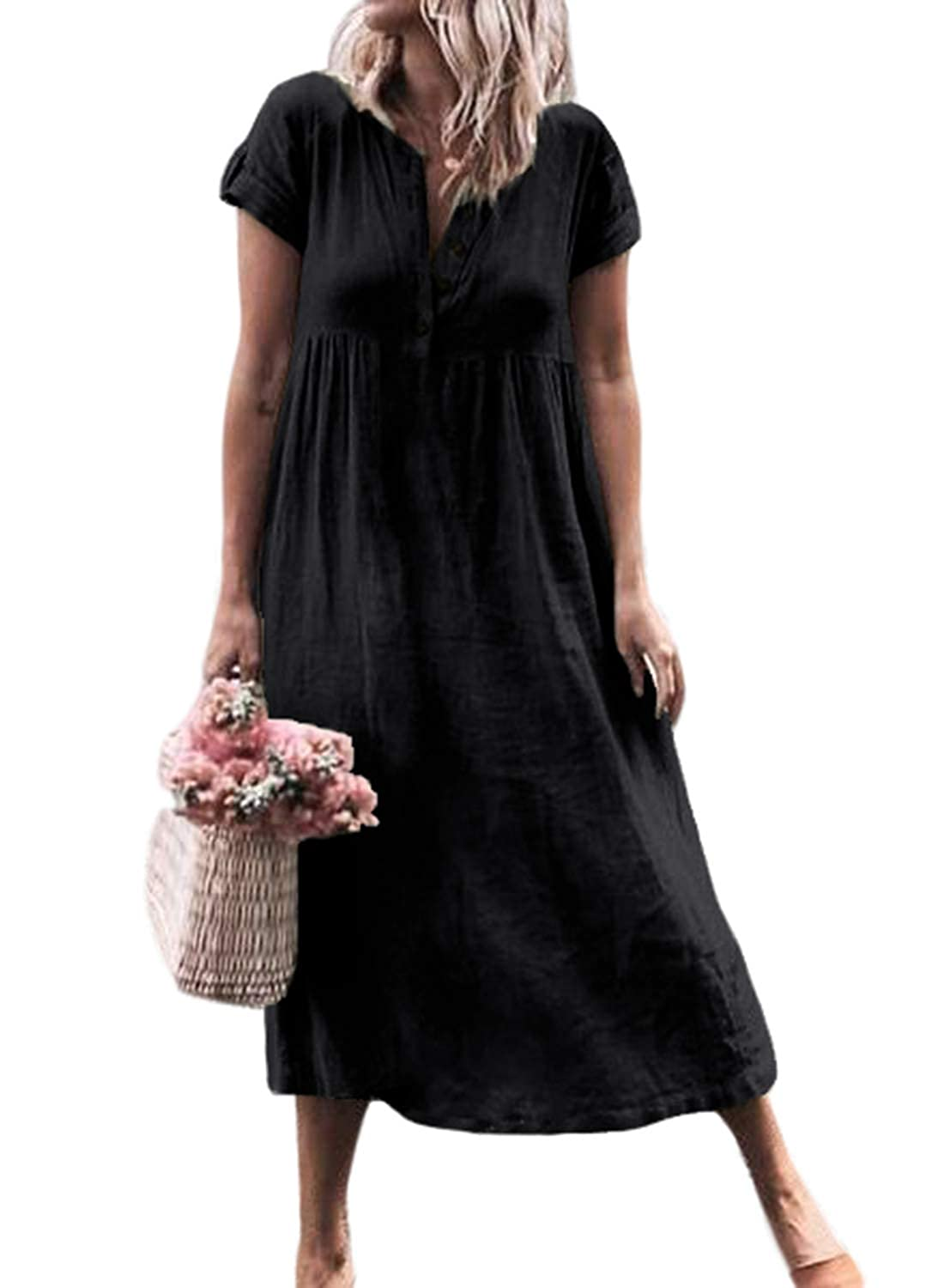 7a789ba0 FIYOTE Women Summer Button Down Daily Short Sleeve Casual Loose Long Dresses  S-XL at Amazon Women's Clothing store:
