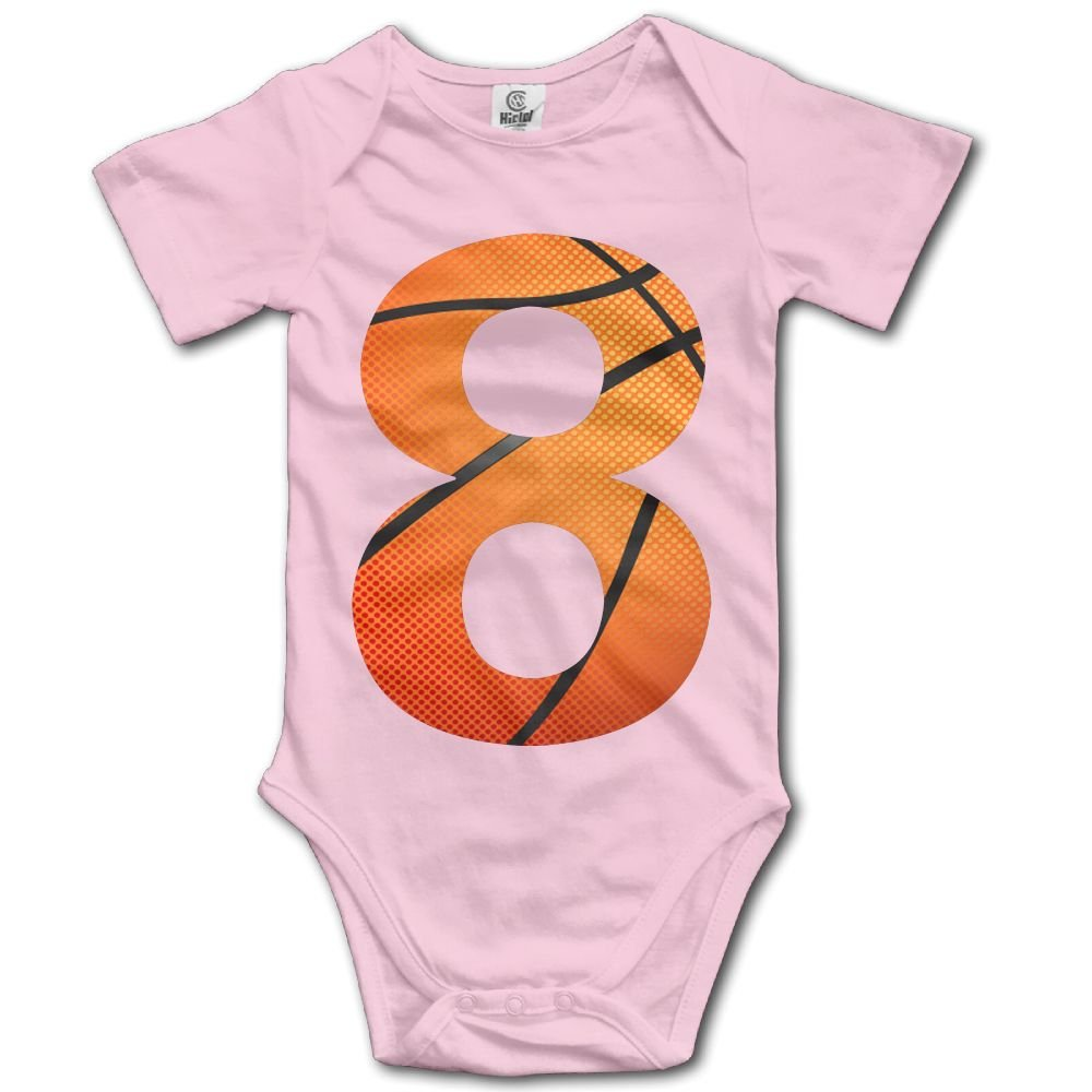 Jaylon Baby Climbing Clothes Romper Number 8 Baskrtball Infant Playsuit Bodysuit Creeper Onesies Pink
