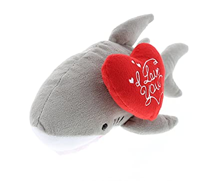 Amazon Com Dollibu Gray Shark Plush With I Love You Heart Message