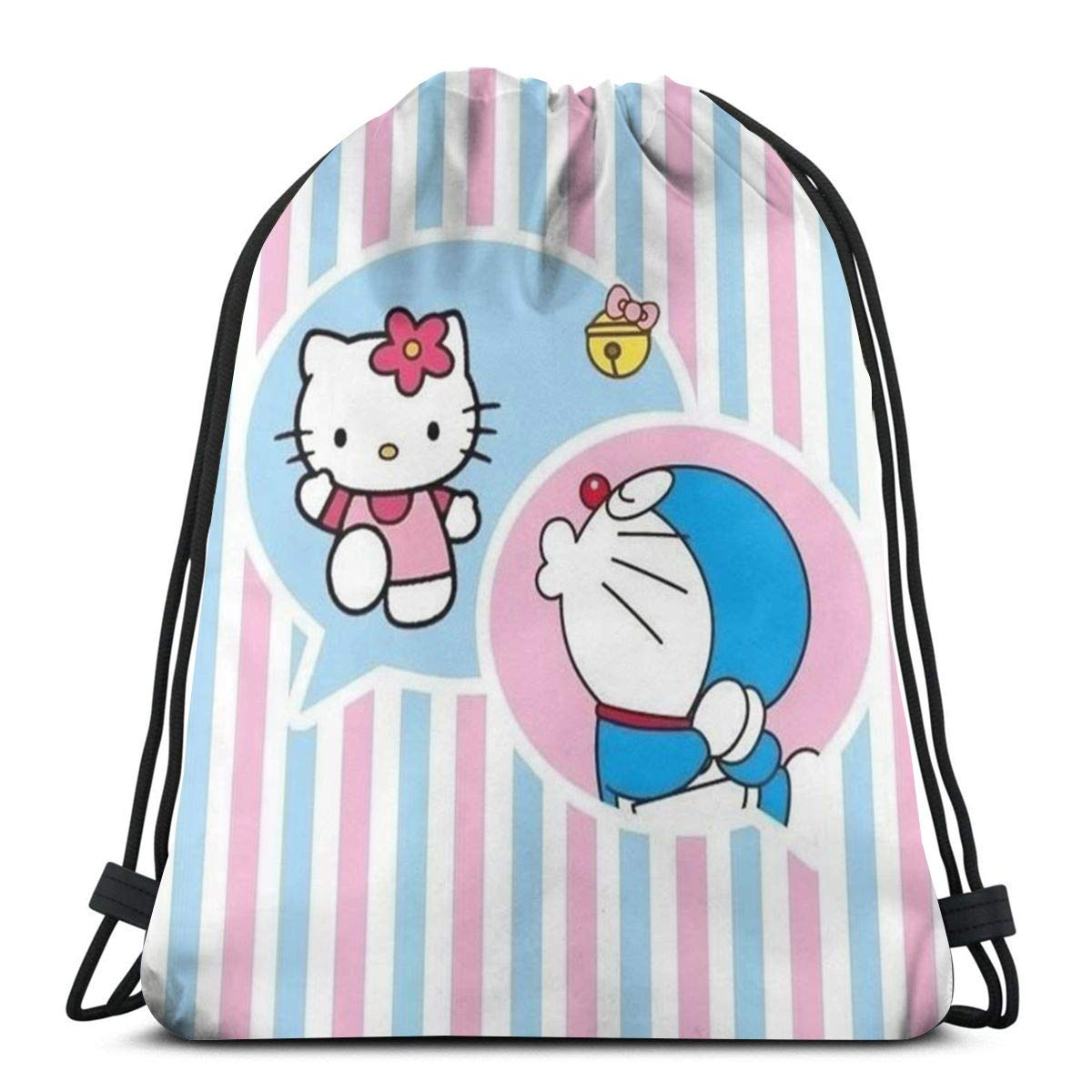 MPJTJGWZ クラシック巾着バッグ キティとドラえもんのジムバックパック ショルダーバッグ スポーツ収納バッグ 男女兼用 B07PXRR32V