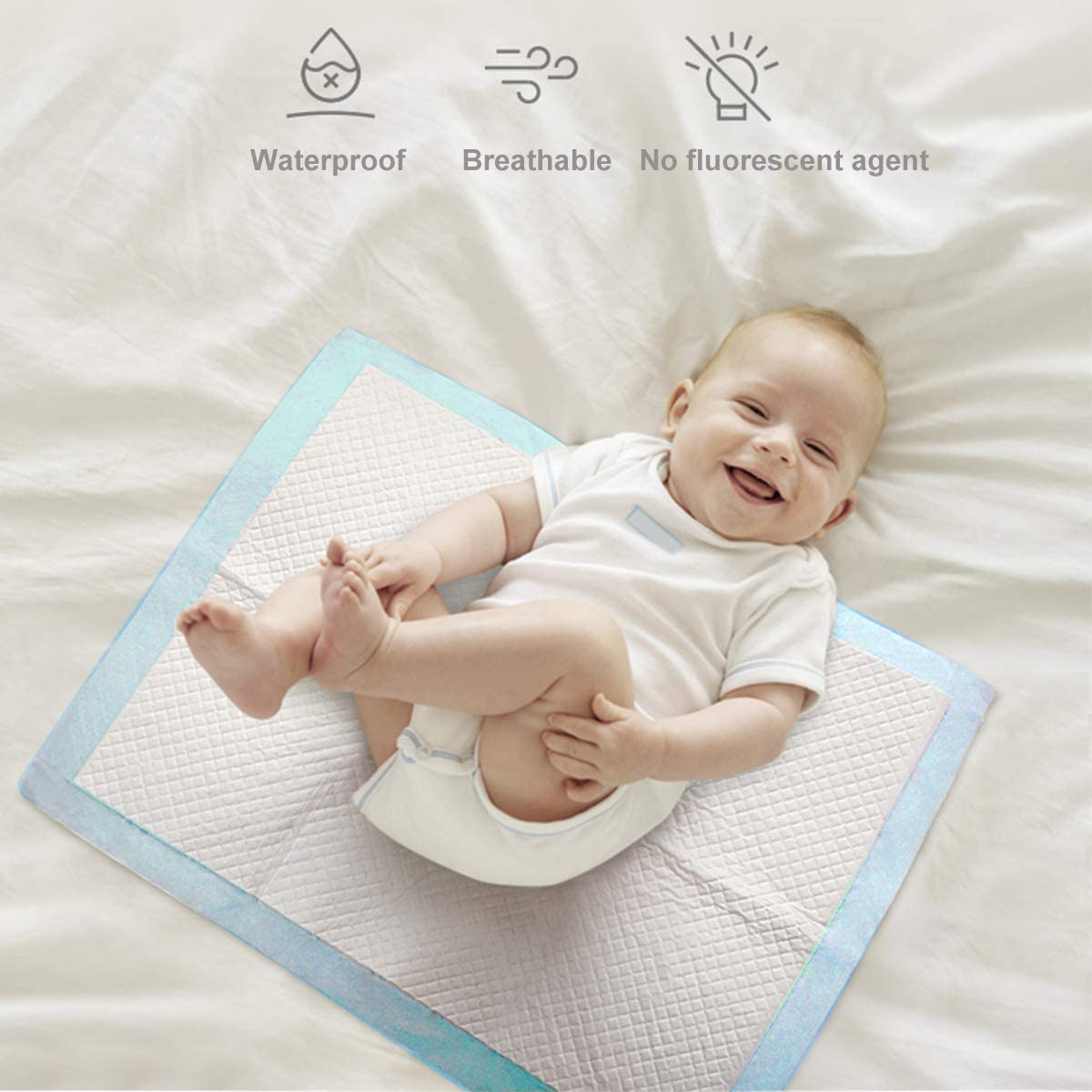 Portable Diaper Changing Table Soft Waterproof Mat Bekith 60 Pack Baby Disposable Changing Pad Liners / Covers any Surface for Mess Free Baby Diaper Changes