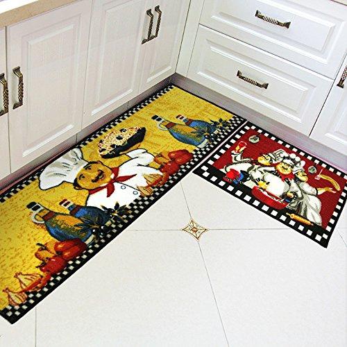 [해외]Wolala 가정 3 뚱뚱한 요리사 남자 목제 마루를위한 부엌 깔개 빨간 기계 세척 가능한 부엌 깔개는 2 개를 놓았다/Wolala Home 3 Fat Chefs Man Kitchen Rugs for Wood Floo