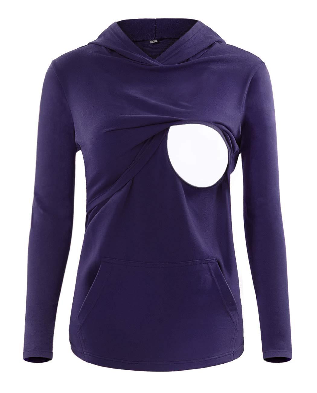 SUNNYBUY Women's Long Sleeve Nursing Tops Breastfeeding Hoodie Clothes Maternity Shirt Kangaroo Pocket