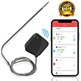 Smart Bluetooth BBQ Grill Thermometer - Upgraded Stainless Probe Safe to Leave in Oven, Outdoor Barbecue or Meat Smoker - Wireless Remote Alert iOS Android Phone WiFi App - NutriChef PWIRBBQ40