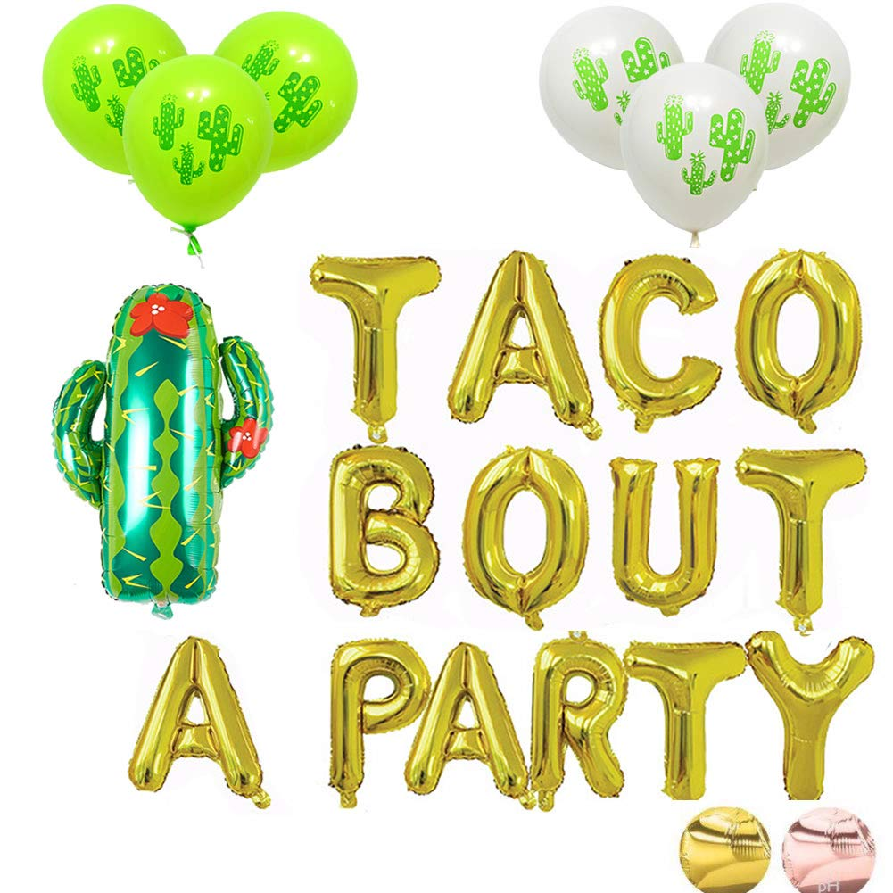 16'' Gold Foil Balloon Taco Bout A Party Cactus Balloon Balloons Engagement Bachelorette Birthday Taco Shower Mexican Fiesta Theme Baby Shower,Gender Reveal Decorations Supplies