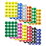 12 Months of the Year Labels Color Coding Dot Round Self Adhesive Stickers (1'' Round Dot Stickers) - 300 stickers per Month - 3600 stickers total