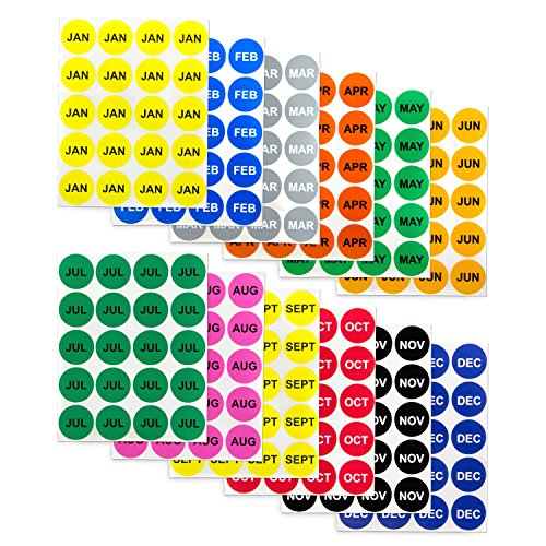 12 Months of The Year Labels Color Coding Dot Round Self Adhesive Stickers (1