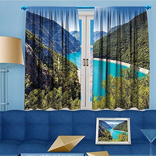(Mikihome Linen Blend Curtains - The Piva Canyon Its Reservoir Montenegro Balkans Sunlights Pattern Print Curtain Window Curtain Panel, 63