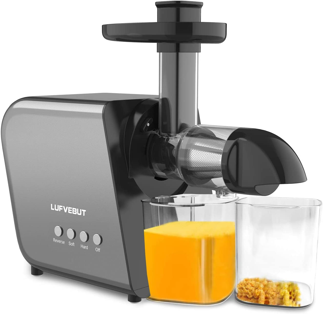Slow Masticating Juicer Machines, Cold Press Slow Juicer Extractor for Fruit and Vegetable Celery Ginger, Easy to Clean, Anti-oxidation Fresher Vitamins with Reverse Function and Brush