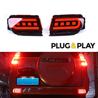 GTINTHEBOX 3D Optic Red LED Rear Bumper Reflectors Brake Tail Light Lamps Kit For TOYOTA Land Cruiser PRADO FJ150 2010 2011 2012 2013 2014 2015 2016 2020 2020: Automotive